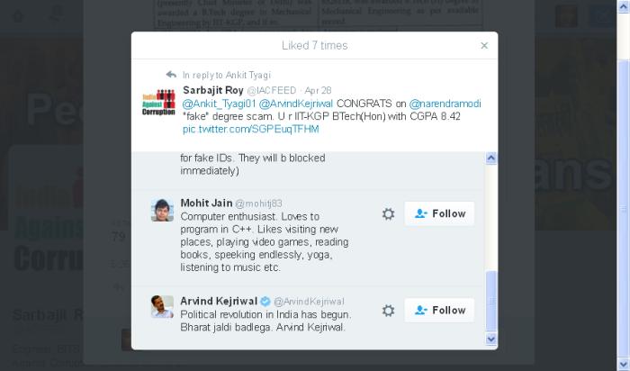 Sarbajit Roy on Twitter- -@Ankit_Tyagi01 @ArvindKejriwal CONGRATS on @narendramodi -fake- degree scam. U r IIT-KGP BTech(Hon) with CGPA 8.42 https---t.co-SGPEuqTFHM- 2016-05-08 13-08-34